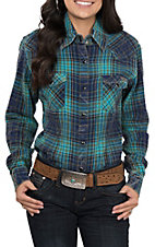 Powder River by Panhandle Women's Turquoise and Navy Brushed Plaid Long Sleeve Shirt
