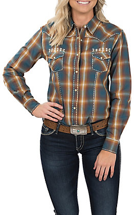 Panhandle Women's Rust and Blue Plaid with Saddle Stitch Long Sleeve Western Shirt