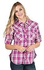 Panhandle Women's Pink, Purple, and Cream Plaid Long Sleeve Western Snap Shirt