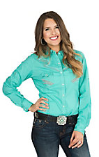 Panhandle Women's Solid Turquoise with Coral Embroidery and Rhinestone Accents Long Sleeve Retro Snap Shirt