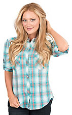 Panhandle Women's Turquoise, Coral, and White Plaid Long Sleeve Western Snap Shirt