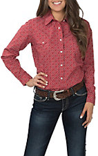 Panhandle Women's Red Print Long Sleeve Western Shirt