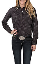 Panhandle Women's Black Print Long Sleeve Western Snap Shirt