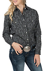 Panhandle Women's Black Paisley Print Long Sleeve Western Shirt