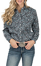 Panhandle Women's Turquoise Paisley Print Long Sleeve Western Shirt
