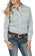 Panhandle Women's Turquoise and White Paisley Print Long Sleeve Western Shirt