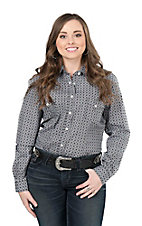 Panhandle Women's Grey Print Long Sleeve Western Snap Shirt