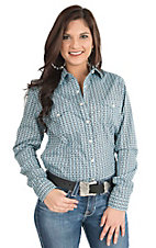 Panhandle Women's Blue Print Long Sleeve Western Shirt