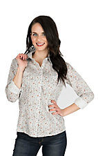 Panhandle Women's Cream, Rust, and Black Paisley Print Long Sleeve Western Shirt