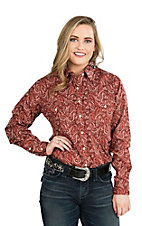 Panhandle Women's Rust, Cream, and Black Paisley Print Long Sleeve Western Shirt