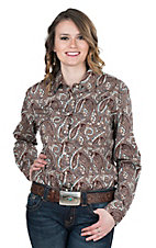 Panhandle Women's Brown and Turquoise Paisley Print Long Sleeve Western Shirt