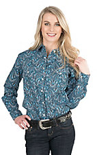 Panhandle Women's Turquoise Paisley Print Long Sleeve Western Snap Shirt
