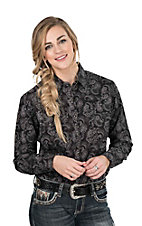 Panhandle Women's Grey Paisley Print Long Sleeve Western Snap Shirt