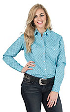 Panhandle Women's Turquoise Aztec Print Long Sleeve Western Snap Shirt