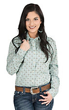 Panhandle Women's Turquoise and Brown Ornate Print Long Sleeve Western Shirt