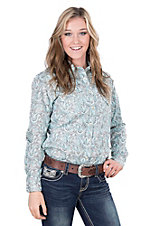 Panhandle Women's Turquoise and Brown Paisley Print Long Sleeve Western Shirt