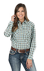 Panhandle Women's Turquoise and Brown Plaid Long Sleeve Western Shirt