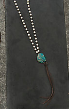 Jewelry Junkie White Beaded with Turquoise Stone and Tassel Pendant Necklace