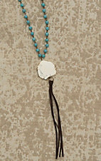 Jewelry Junkie Turqoise Beaded with White Stone and Tassel Pendant Necklace