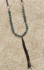 Jewelry Junkie Turquoise and Brown Beaded with Tassel Necklace