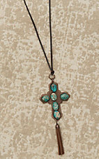 Jewelry Junkie Brown with Turquoise Beaded Cross Pendant Necklace