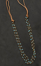 Jewelry Junkie Tan Suede with Blue and Brown Beaded Chains Necklace