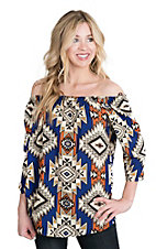 Renee C. Women's Blue, Cream, and Orange Aztec Print 3/4 Sleeve Fashion Top