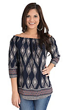 Renee C. Women's Navy and Taupe Ornate Print 3/4 Sleeve Fashion Top