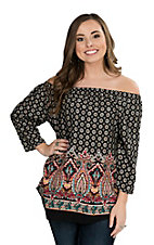 Renee C. Women's Red and Black Medallion Print 3/4 Sleeve Fashion Top