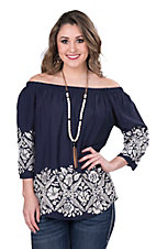 Renee C. Women's Navy with Cream Embroidery and 3/4 Sleeve Fashion Top