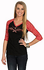 Cowgirl Hardware Women's Black with Rhinestud Steer Head with Pistols Red Bandana Raglan 3/4 Sleeve Top