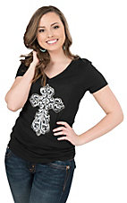 Cowgirl Hardware Women's Black with White Studded Cross Short Sleeve Casual Knit Top