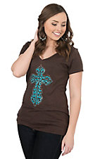 Cowgirl Hardware Women's Chocolate with Turquoise Cross Burnout Short Sleeve Tee