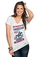 Cowgirl Hardware Women's White Burnout American Cowgirl Poster Short Sleeve Tee