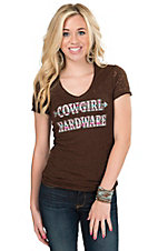 Cowgirl Hardware Women's Brown with Aztec Logo Short Sleeve Burnout Tee