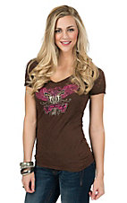 Cowgirl Hardware Women's Brown with Winged Pistols Burnout Shirt