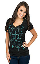 Cowgirl Hardware Women's Black with Turqoise Stud Crosses Tee