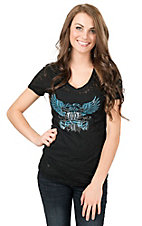 Cowgirl Hardware Women's Black Live Free Winged Pistols Burnout Short Sleeve Tee