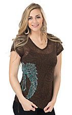 Cowgirl Hardware Women's Brown with Turquoise Rhinestud Winged Cross Burnout Short Sleeve Tee