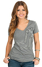 Cowgirl Hardware Women's Charcoal Rhinestud Pistols V-Neck Short Sleeve Tee
