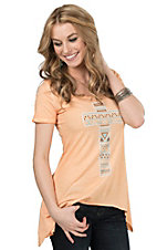 Cowgirl Hardware Women's Orange With Turquoise, Brown, and White Studded Cross Short Sleeve Casual Knit Top
