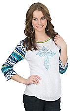 Cowgirl Hardware Women's White Burnout with Rhinestud Cross 3/4 Tribal Print Raglan Sleeve Shirt