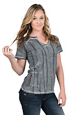 Cowgirl Hardware Women's Charcoal with Embellished Pistol Short Sleeve Casual Knit Top