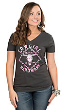 Cowgirl Hardware Women's Charcoal with Pink Skull Screen Print Cap Sleeve Casual Knit Top