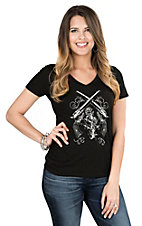 Cowgirl Hardware Women's Black with White and Grey Pistol Screen Print Design Short Sleeve Casual Knit