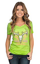 Cowgirl Hardware Women's Lime with Orange and Brown Skull