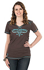 Cowgirl Hardware Women's Brown with Turquoise Embroidereed Logo Cap Sleeve Casual Knit Shirt