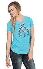 Cowgirl Hardware Women's Turquoise with Guns and Roses Screen Print Cap Sleeve Casual Knit Shirt