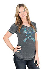 Cowgirl Hardware Women's Charcoal with Turquoise Studded Arrow Short Sleeve Casual Knit Shirt