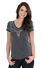 Cowgirl Hardware Women's Black with Studded Deer Skull Cap Sleeve Casual Knit Shirt